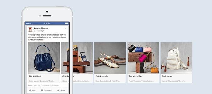 Facebook広告ではカルーセル広告などでダイナミックリターゲティングが利用できる