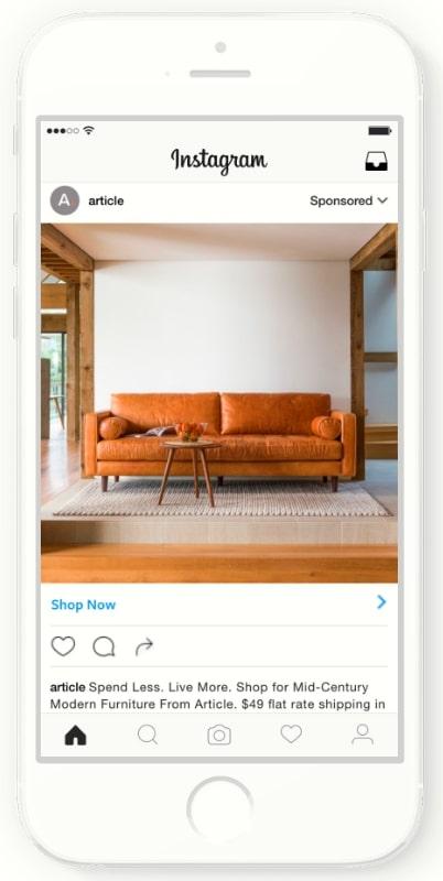家具のオンラインショップArticleはInstagram広告でブランド認知を向上させ、リターゲティング広告による成果獲得を行った結果、売上全体の3分の1がInstagram経由という結果を出した。