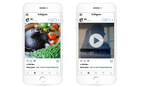 Instagram広告の表示イメージ-Instagramは写真や動画が中心のSNSです。そのため、広告も写真や動画によるクリエイティブな訴求が求められます。ユーザーが普段目にするニュースフィードや、全画面動画で圧倒的な訴求力を持つ「ストーリーズ」に表示されます。