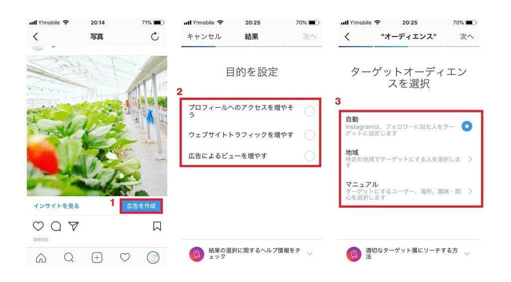 Instagramのビジネスプロフィールでは、「広告を作成」ボタンから気軽に広告出稿が可能。