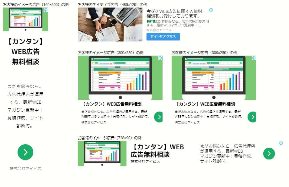 画像:レスポンシブディスプレイ広告は数種類の画像とテキストを入稿するだけですべての広告枠のサイズに組み合わされる。