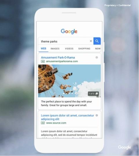 画像:Google ギャラリー広告はテキストとスワイプ可能な数枚の画像で表示される。これまで検索結果に画像が表示できるのはショッピング広告のみだったため非常にインパクトがある。