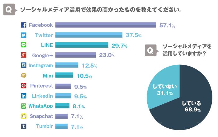 画像:ガイアックス SNSを活用するBtoB企業は68.9%に上り、多くがFacebookとツイッタ―を活用している。