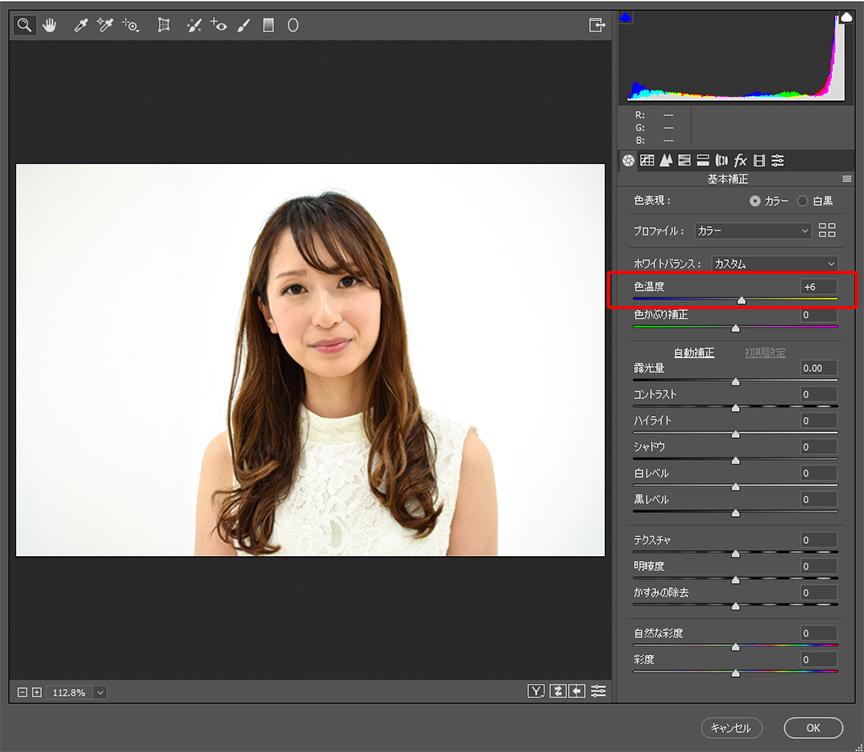 Camera rawフィルターによる人物写真の修正