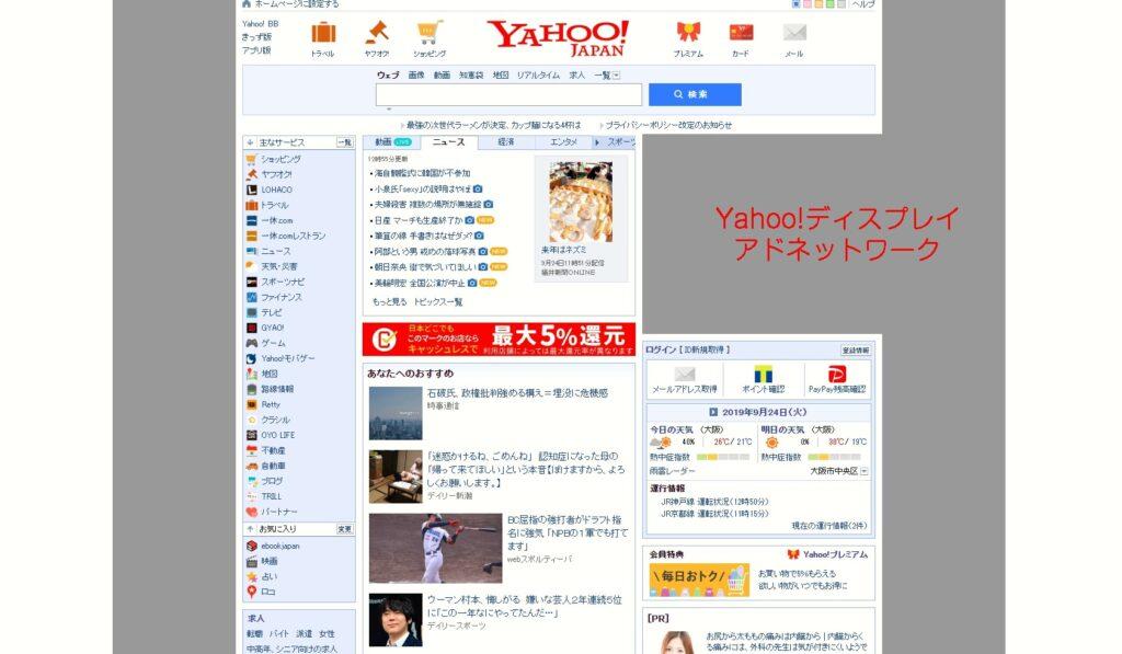 Yahoo!ブランドパネルの表示イメージ