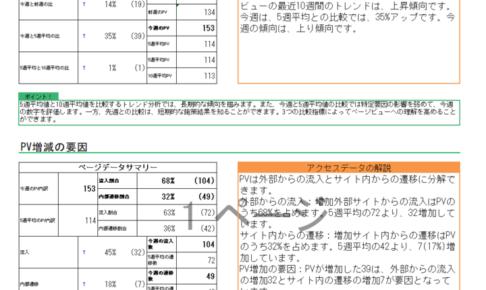 分析レポートの表示例 数値を表でまとめるだけでなく、データの解説、注目すべきポイントも自動で出力する