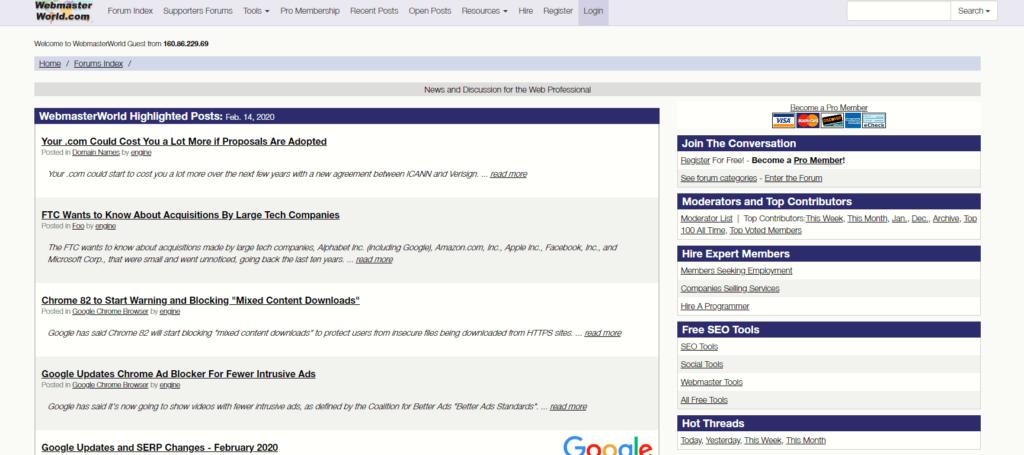 SEO対策ツール:Webmasterworld