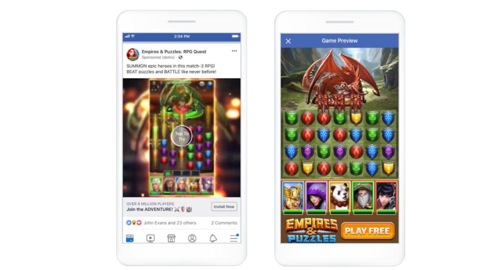 facebook広告のフォーマット:プレイアブル広告