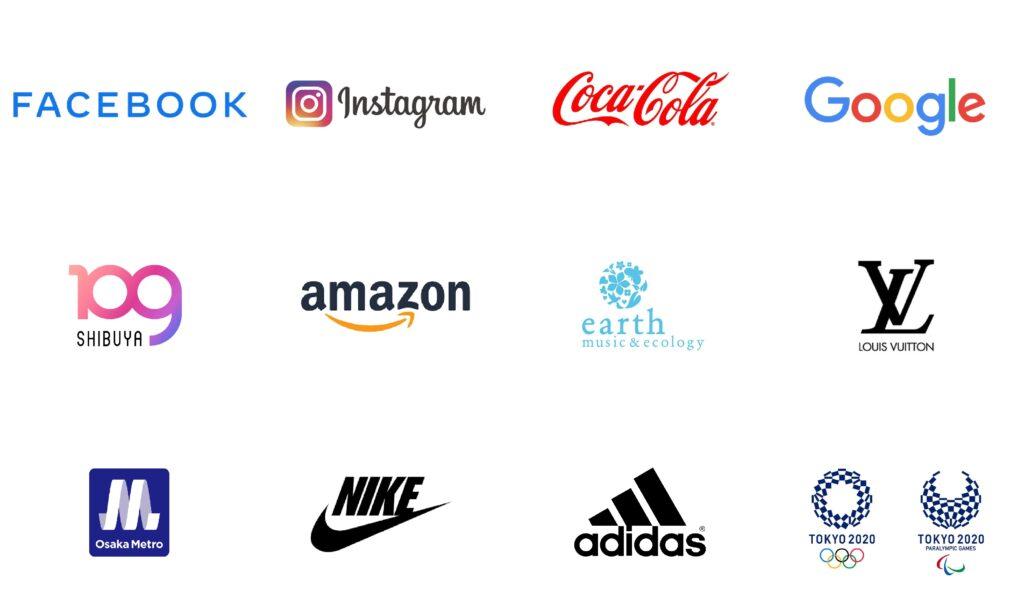 様々な企業のロゴがあり、それぞれCI、VI、BIにおいて明確な意味がある