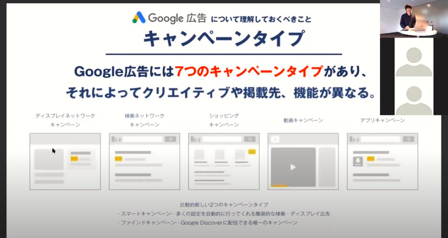 画像:Google広告基礎知識では、キャンペーンタイプなど運用に欠かせない概念を紹介