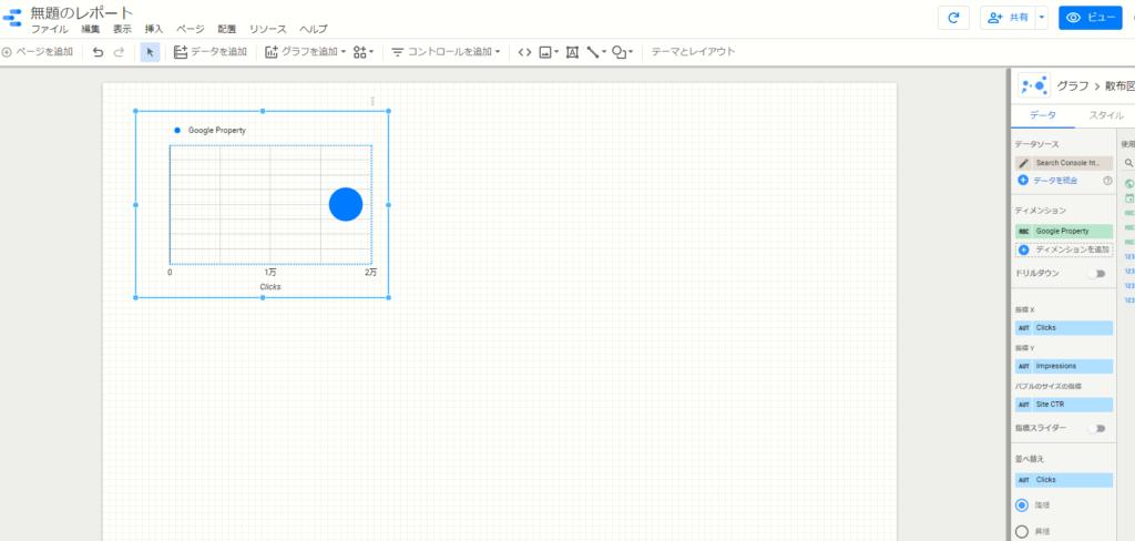 バブルチャートを適当な位置に配置